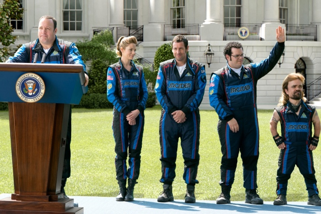 PIXELS - 2015 FILM STILL - Pictured: President Cooper (Kevin James) addresses the press on the White House lawn as Violet (Michelle Monaghan), Brenner (Adam Sandler), Ludlow (Josh Gad) and Eddie (Peter Dinklage) - Photo Credit: George Kraychyk © 2015 CTMG, Inc. All Rights Reserved. **ALL IMAGES ARE PROPERTY OF SONY PICTURES ENTERTAINMENT INC. FOR PROMOTIONAL USE ONLY. SALE, DUPLICATION OR TRANSFER OF THIS MATERIAL IS STRICTLY PROHIBITED.